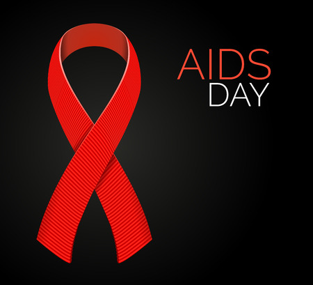 aids symbol: Realistic AIDS awareness red satin ribbon isolated on black background. illustration of symbol for solidarity with HIV-positive people Illustration