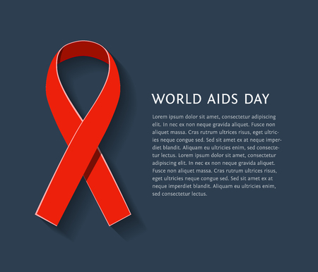 red  ribbon: AIDS awareness red satin ribbon isolated on dark background with copy space for your text. illustration of symbol for solidarity with HIV-positive people and those living with Illustration