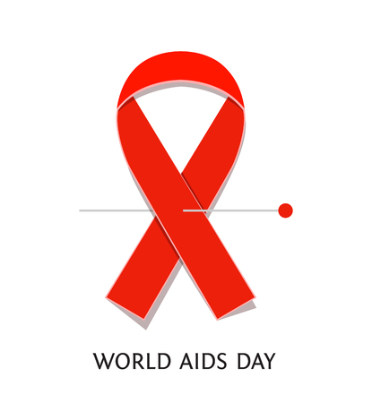 aids symbol: AIDS awareness red satin ribbon isolated on white background. illustration of symbol for solidarity with HIV-positive people and those living with