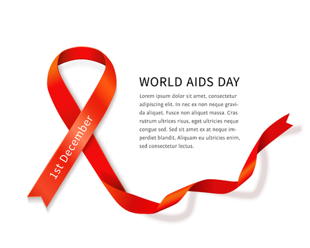 red  ribbon: AIDS awareness red satin ribbon loop isolated on white background with copy space for your text. illustration of symbol for solidarity with HIV-positive people Illustration
