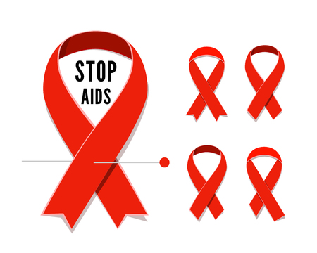 aids symbol: Set of AIDS awareness red satin ribbons isolated on white background.  illustration of symbol for solidarity with HIV-positive people and those living with. Satin ribbon loop