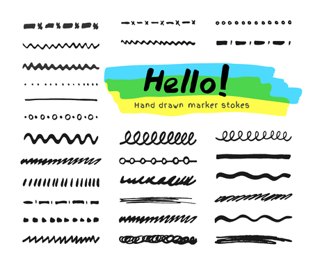 felt tip: Black felt tip pen strokes collection. Set of brush elements for text selection
