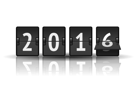 countdown: 2016 countdown timer with flip isolated on white background. Analog scoreboard calendar change represents the new year 2016