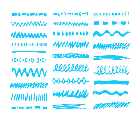 blue highlighter elements collection. Set of marker, felt tip pen elements - brushes, strokes and pattern
