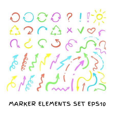 felt tip: Felt tip pen arrows. colorful transparency highlighter elements collection. Set of  marker arrows.
