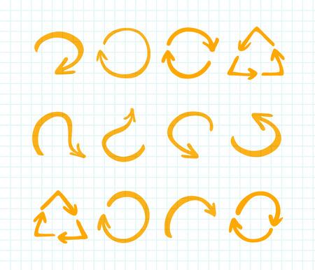 felt tip: Felt tip pen arrows. orange highlighter elements collection. Set of  marker arrows on checked paper Illustration