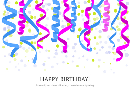 party streamers: background with white streamers and space for text. Carnival party serpentine decoration, paper ribbons