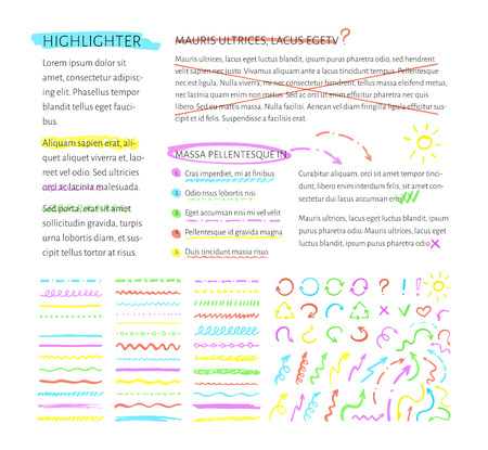 underline: Vector highlighter elements collection with sample text for example. Set of hand drawn highlighting elements for text selection and underline