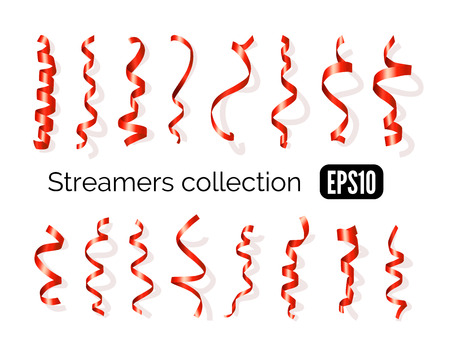 streamers: Birthday collection of red decoration streamers and curling party ribbons isolated on white background