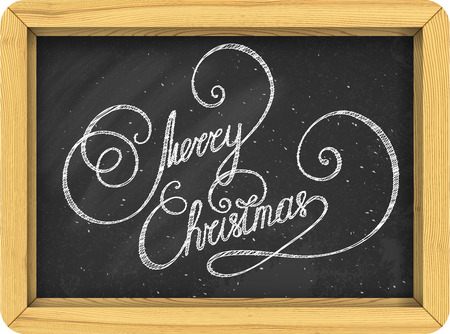 caligraphy: Merry Christmas vintage text. Hand written lettering. Caligraphy on the blackboard