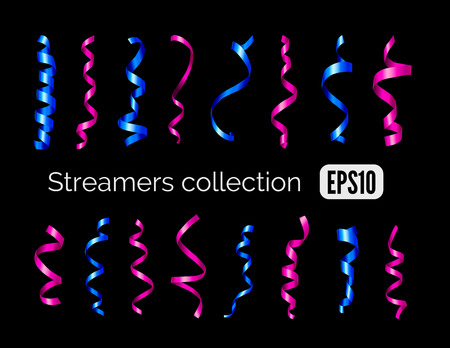 party streamers: Party collection of blue shiny decoration streamers and pink curling party ribbons isolated on black background