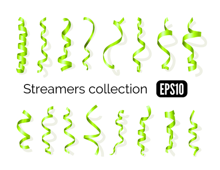 party streamers: Birthday collection of green decoration streamers and curling party ribbons isolated on white background