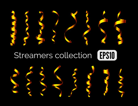 party streamers: Party collection of shiny golden decoration streamers and curling party ribbons isolated on black background Illustration