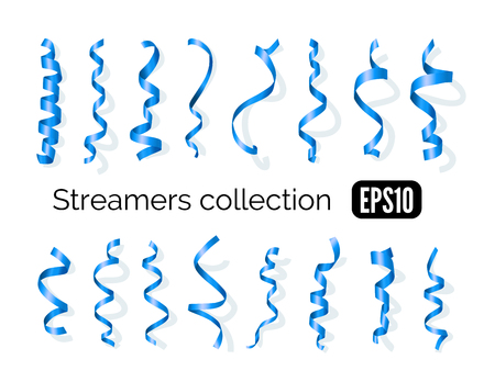party streamers: Birthday collection of blue decoration streamers and curling party ribbons isolated on white background
