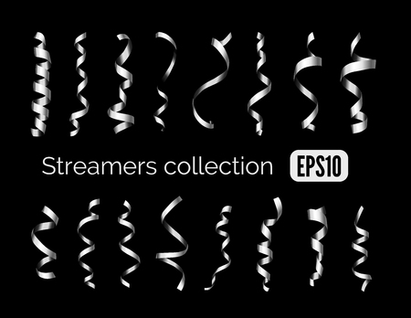 party streamers: Party collection of shiny silver decoration streamers and steel curling party ribbons isolated on black background Illustration