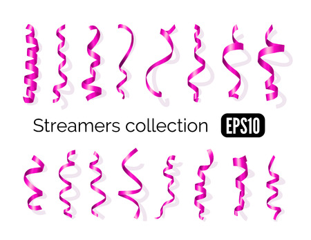 party streamers: Birthday collection of pink decoration streamers and curling party ribbons isolated on white background