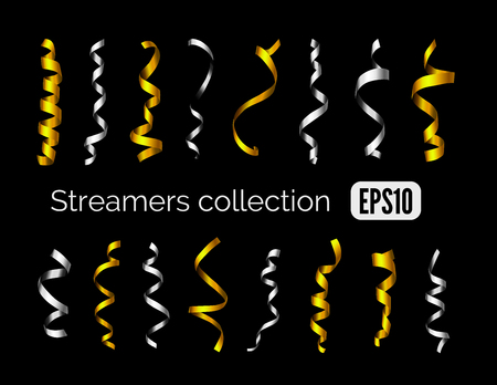 party streamers: Party collection of shiny golden decoration streamers and silver curling party ribbons isolated on black background