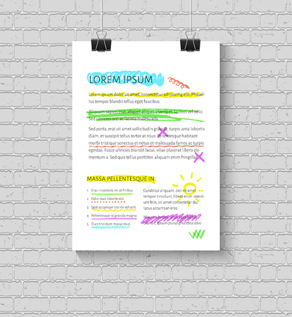 underline: Vector highlighter elements collection. Set of hand drawn highlighting elements for text selection and underline Illustration