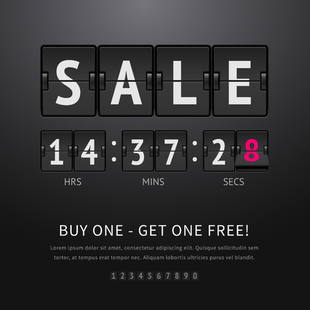 Sale. Black flip clock with sale text and timer, analog scoreboard on dark background. Vector illustration of flip countdown timer to promotion and advertising