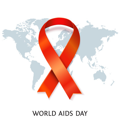 hiv awareness: AIDS awareness red satin ribbon on world map background. Vector illustration of symbol for solidarity with HIV-positive people