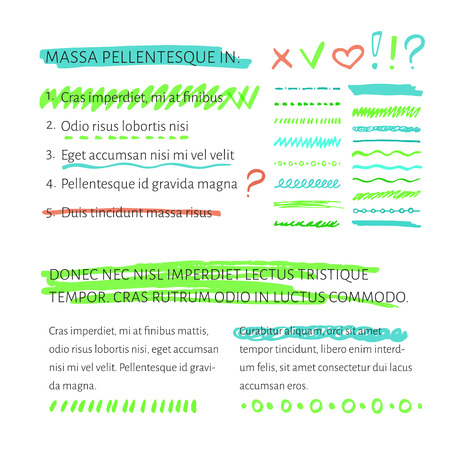 Marker and highlighter elements collection with sample text layout  for example, underline your text 向量圖像