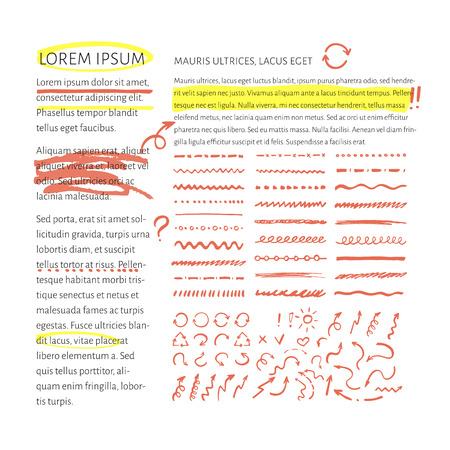 for example: Vector highlighter elements collection with sample text layout  for example. Set of hand drawn highlighting elements for text selection and underline