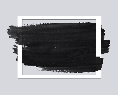 Empty Paper frame with brush stroke for your text.Banner template. Vector abstract background.