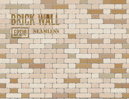 stonework: Brown grunge brick wall. Vector seamless background