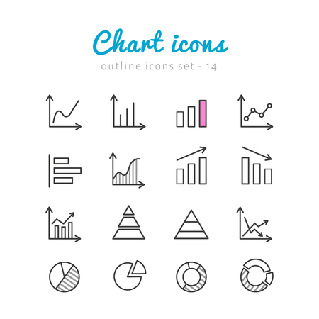 Vector icons set- chart, graphics, infographic for businnes. Linear icons collection on white background