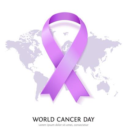 세계 암의 날 라벤더 벡터 새틴 리본입니다. 흰색 배경에 세계지도 함께 일반 암 인식 기호
