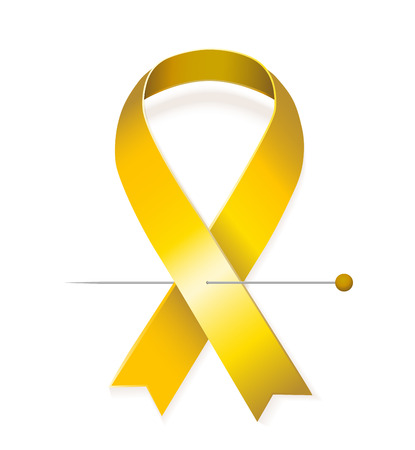 childhood cancer: Childhood cancer awareness concept - golden vector ribbon with pin isolated on white background