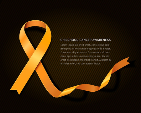Childhood cancer awareness concept ribbon - gold vector ribbon with space for your text isolated on dark background Zdjęcie Seryjne - 51416645