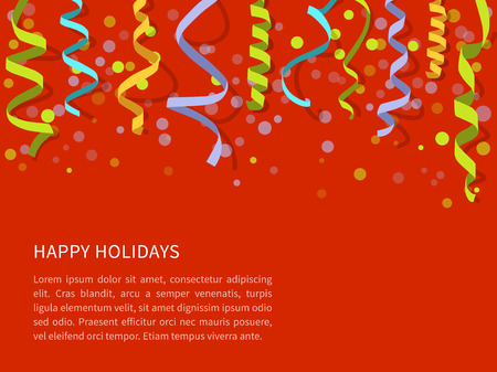 paper background: Vector Red background with colorfulstreamers and space for text. Carnival party serpentine decoration, paper ribbons for holidays design