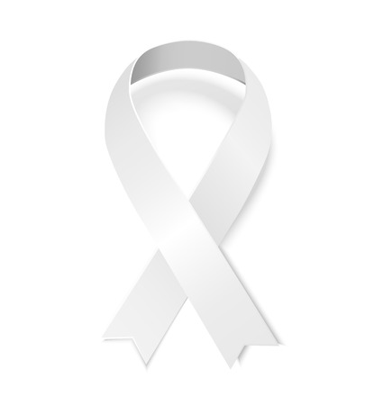 temperance: White awareness ribbon. Vector illustration of ribbon with shadow isolated on white background. Symbol of  Woman s Christian Temperance Union, Anti-violence against women and gender justice movement