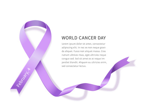 세계 암의 날 라벤더 벡터 새틴 리본. 텍스트에 대 한 공간을 가진 일반 암 인식 기호 흰색 배경에 고립