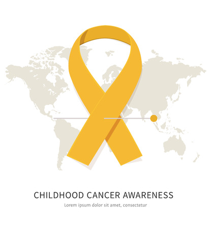 childhood cancer: Childhood cancer awareness gold vector flat ribbon with space for text and world map isolated on white background Illustration