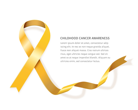 Childhood cancer awareness gold vector ribbon with space for text isolated on white background