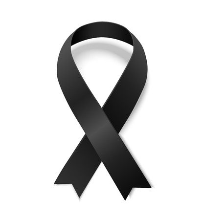 Black awareness ribbon. Symbol of remembrance and mourning. Vector illustrarion of black ribbon with shadow isolated on white background