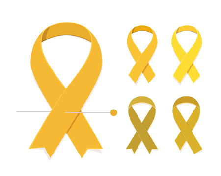 childhood cancer: Childhood cancer awareness concept Set of five gold vector flat ribbons isolated on white background