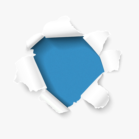tear off: Hole in white paper with torn sides over blue textured paper background and with space for your text. Vector torn paper, realistic Illustration