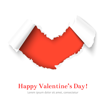 rip off: Torn paper heart shape with Happy Valentines day congratulation over red background