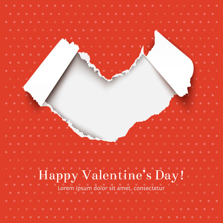 tear off: Greating card for Valentines Day with Torn red paper heart over white paper red background. Ripped paper edges