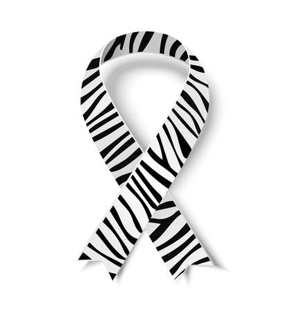 textile care symbol: Zebra-print ribbon - symbol of rare-disease awareness. illustration of awareness ribbon for World Day of rare disease. Zebra-print ribbon with shadow isolated on white background Illustration