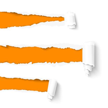 Bianco carta con rotolo di carta e lo spazio lacerato per il testo su sfondo arancione. carta con bordi strappati. Vettoriali