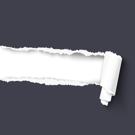 tear off: Dark torn paper with paper scroll over white background with copy space for your text . paper with ripped edges.