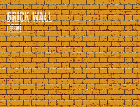 Oranje grunge bakstenen muur. Vector Illustratie