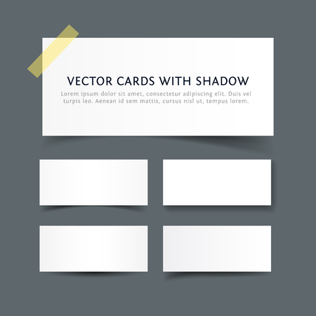 temlate: Paper cards with various shadow. Realistic vector business card temlate isolated on gray background. Collection of blank paper banners for web and print Illustration
