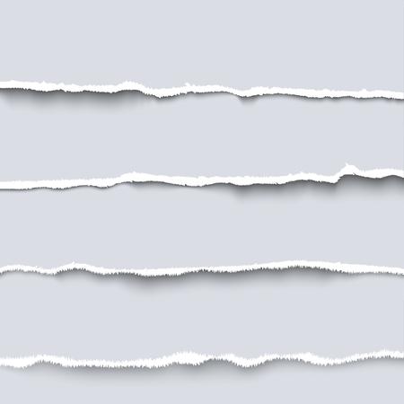 Vector de papel rasgado. Colección de cuatro piezas blancas de papel rasgado con bordes rasgados, cartón rasgado
