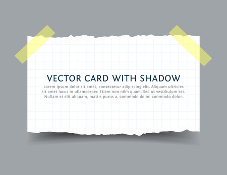 scotch: Torn squared Paper sheet with scotch tape pieces and shadow. Realistic vector ragged paper card with ripped edges. Mock up with space for your text. Illustration
