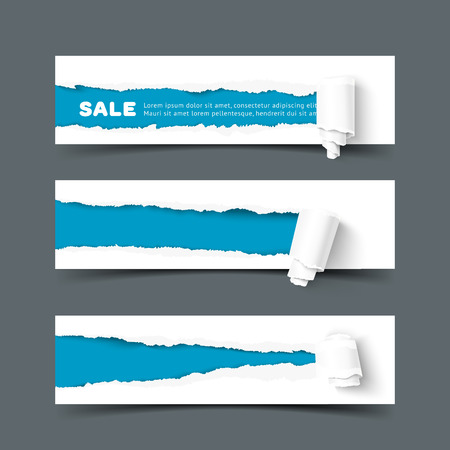 tear: Set of three web banners with torn paper and paper roll. Vector paper with ripped edges. Hole in paper wiht space for advertising text. Torn paper with paper roll template.